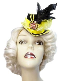 Hey, I found this really awesome Etsy listing at https://www.etsy.com/listing/229306653/belle-yellow-mini-fascinator-top-hat
