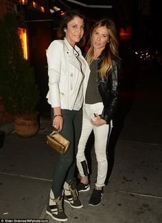 RHONY Bethenny and Carole literally matched each other in b&w leather jackets, skinny jeans, and brand new trainers (Bethenny's by Chloe)