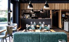 Scanaua - Schaan, Bar Einrichtung, Lichtenstein, Modern Deisgn, Polsterbänke - mit Stoff Tapeziert, Hängelampen mit Affenschaukel, Restaurant Design und Einrichtung aus Österreich - id Werkstatt