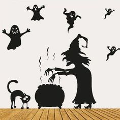 RoseGal.com - RoseGal Halloween Witch Ghost Vinly Wall Art Stickers - AdoreWe.com