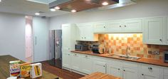 Moder Kitchen Design With Orange Tile Wall - Your Home Design (shared via SlingPic)