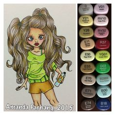 Colored by Amanda Farhang. This is a digital stamp from Saturated Canary, printed on Neenah Exact Index 110# card stock & colored with copic sketch markers.