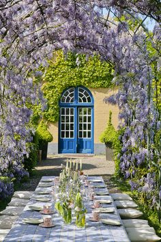 Dining under the wisteria . .  . so pretty!