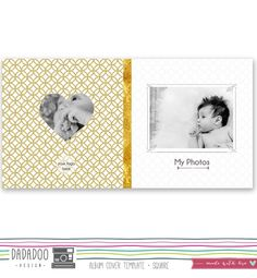Square Album Cover Template 8x8 in 20x20 cm di DadadooDesigns Newborn photography Baby photography album design