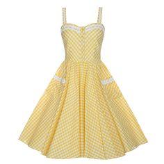 Corinna Yellow Gingham Swing Dress | Vintage Style Dresses - Lindy Bop