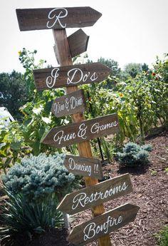 Wedding directional sign. Outdoor wedding