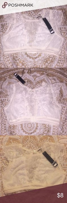 white lace bralette super cute white lace bralette/crop top. Originally from the brand Poof! Urban Outfitters Intimates & Sleepwear Bras