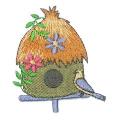 #IronOnPatch Applique - Thatched Bird House * $1.35