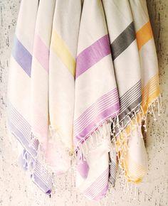 Turkish Bath Towel,Peshtemal, beach towel, hammam towel, Spa Towel-Squama design -Type1:Pastel violet striped-Cream Linen. $32.50, via Etsy.