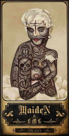 Ramon Maiden adorns vintage illustrations with tattoos.