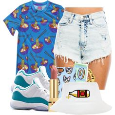 A fashion look from August 2014 featuring i heart t shirts, high rise shorts and hoop earrings. Browse and shop related looks.