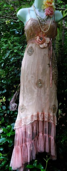 Blush maxi dress pink sequins  silk lace  wedding fairytale bridesmaid rose boho  vintage  romantic medium by vintage opulence on Etsy