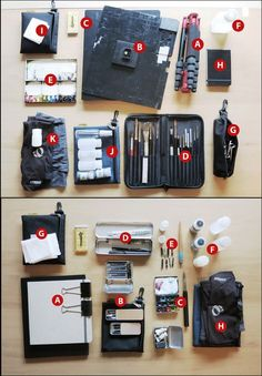 Field Sketching Kits   by Marc Taro Holmes  ( http://www.urbansketchers.org/2014/08/go-bags-go-field-sketching-kits-for.html?spref=tw )