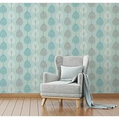 The wallpaper features a fun, tree design on a shimmering metallic background and will brighten a living room, bedroom or elsewhere. In a contemporary grey colour scheme with yellow accents, the Fine Decor Tree Grey/Yellow Wallpaper is a great choice. Grey And Yellow Living Room, Living Room Modern, Living Room Decor, Grey And White Wallpaper, Teal Wallpaper, Wallpaper Roll, Wallpaper Panels, Adhesive Wallpaper, Wallpaper Ideas