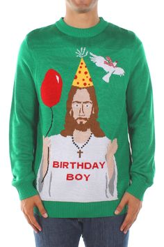 If He's the reason for the season, it's time to celebrate! This snaky Christmas sweater features the Son of God himself, complete with a party balloon.