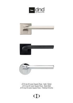 Joy lever, door handle, square, round, rose, satin nickel, black matt, polished chrome, design,