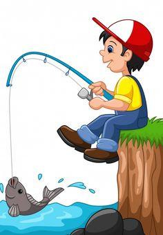 Cartoon boy fishing Premium Vector | Premium Vector #Freepik #vector #man #nature #cartoon #fish Cartoon Drawing For Kids, Art Drawings For Kids, Cartoon Drawings, Art For Kids, Cartoon Fish, Cartoon Wall, Cartoon Boy, Cliparts Free, Fish Clipart