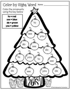 Christmas Color by Sight Word Freebie Kindergarten
