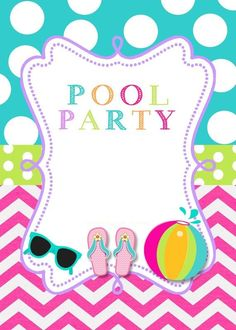 Convite Pool Party – 12 Modelos Para Festa Na Piscina! Pool Party Themes, Pool Party Kids, Spa Party, Invitation Fete, Pool Party Birthday Invitations, Barbie Party, Flamingo Party, Tortilla, Maya