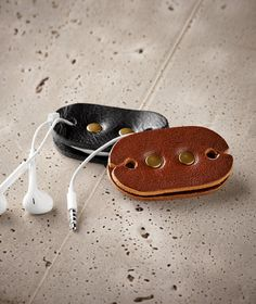 Ear Bud Holder.  All Leather Ear Bud Holders.  Available from Carbon 2 Cobalt for $29.