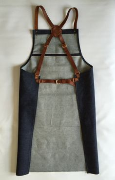 Selvage selvage denim and leather apron cross back apron