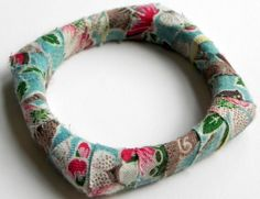 Vintage Fabric Wrapped Bangle by MountainLightJewelry on Etsy, $18.00