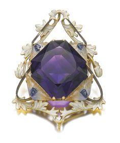 Amethyst Brooch. Rene Lalique (1860-1945) Circa 1900. Gold, amethyst, glass, enamel.