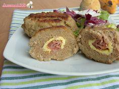 Polpettoni con prosciutto crudo e frittata un ricco secondo piatto di carne o un piatto unico. Ricetta adatta anche per intolleranti al lattosio.