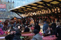 Eating area on the Christmas fair at Vörösmarty tér. Budapest Christmas Market, Hungary, Outdoor Decor, Traveling