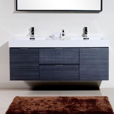 "Found it at Wayfair - Bliss 60"" Double Wall Mount Modern Bathroom Vanity Set"