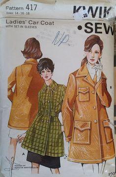b320dabe44 Kwik Sew 417 Misses Ladies Car Coat Sewing Pattern Sizes  14 - 16 - 18