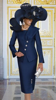 If you're looking for womens church hats or couture hats, this is the place to be! Our elegant ladies church hats have truly original details and design making each one unique. First Lady Church Suits, Church Suits And Hats, Women Church Suits, Church Attire, Church Dresses, Church Hats, Church Outfits, Suits For Women, Church Clothes