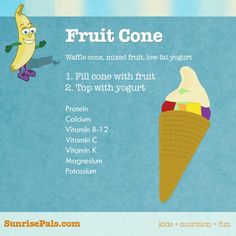 Fruit cone topped with low-fat yogurt. Yum!