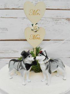 Siberian Husky Dog Wedding Cake Topper Animal Pet Cake   Etsy Dog Cake Topper Wedding, Wedding Cakes, Mr Mrs, Siberian Husky Dog, Dog Wedding, Red Rhinestone, Paper Roses, Place Card Holders, Etsy