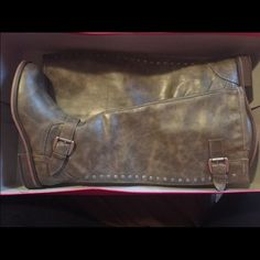 Brown boots Brown boots with embellishments along the back. Never worn, still in box. Willing to negotiate with price. Style & Co Shoes Over the Knee Boots