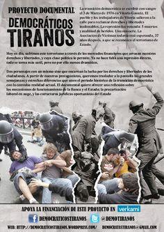 #DOCUMENTAL #FILM #ECONOMIA #CRISIS #CARTEL - Democráticos Tiranos by Chema Mascareña. A través de la historia de los protagonistas, queremos señalar las grandes semejanzas y estrechas diferencias que unen el periodo histórico de la transición democrática con la convulsa realidad actual: pérdida de derechos, precarización laboral, el poder de la economía y la falta de justicia. +INFO: http://chemasonido.blogspot.com.es CAMPAÑA CROWDFUNDING verkami www.verkami.com/projects/4890