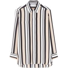 Gerard Darel Carla Blouse (15.390 RUB) ❤ liked on Polyvore featuring tops, blouses, pattern blouse, fitted blouse, stripe blouse, silk blouse and collar blouse