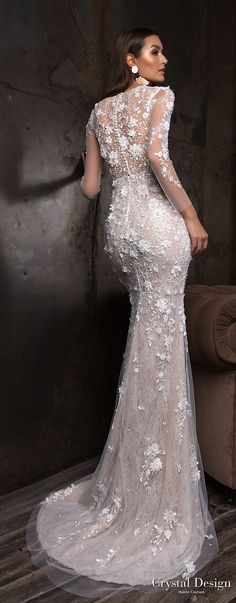 crystal design 2018 long sleeves deep plunging v neck full embellishment sexy romantic sheath wedding dress a line overskirt lace back sweep train (deli) bv -- Crystal Design 2018 Wedding Dresses
