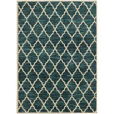 Style Haven Scalloped Lattice Teal/ Rug