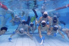 Image of a group of people underwater posing with their underwater hockey gear Hockey Gear, Underwater, Diving, Camping, Poses, Group, Summer, People, Free