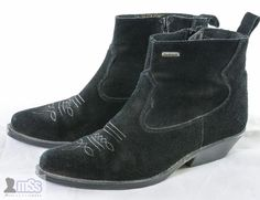 WRANGLER Suede Black Leather Ankle Booties Shoes sz 39 6 UK