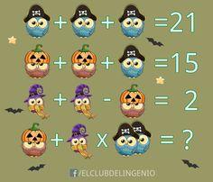 Lógica y razonamiento en Halloween. Juea y comparte con tus amigos. Visita nuestra página web, ¡más de 1300 juegos te están esperando! #agilidadmental Logic Math, Math 5, Math Talk, Math Problem Solving, Maths Puzzles, Fun Math, Math Challenge, Picture Puzzles, Primary Maths