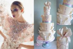 """""""Papillon"""" wedding cake alongside the dress by Amato Haute Couture which inspired the design.. With sugar butterflies, sugar stylised magnolia and royal icing piped bead decoration in lilac and Tiffany blue."""