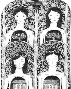 'The house of roses bloom' by Hakka-chan ☆ A part of her current exhibition at Alice and Beanstalks gallery ☆ Check the rest of her works on http://aliceandbeanstalks.jimdo.com/hakka-chan-solo-show/ #art #drawing #artist #ハッカチャン #アート #東京 #アリスと豆の木 #アリス豆