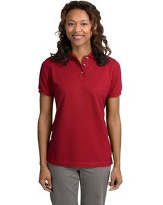 Port Authority Womens Port Authority Ladies Pique Knit Polo 3XL Sunset Red ** Continue to the product at the image link. Note:It is Affiliate Link to Amazon.