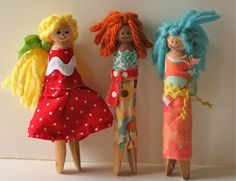 clothespin dolls; also great for scrap yarn and fabric