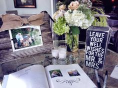 guestbook table with photos of couple | Share
