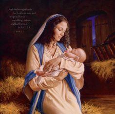 Heaven's Perfect Gift  Luke 2:7 poster by Mark Missman.