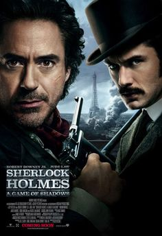 """""""Sherlock Holmes - A Game of Shadows."""" Second movie featuring Robert Downey, Jr. as Sherlock Holmes and Jude Law as Dr.even better than the first.think they will make a third? I hope so! Sherlock Holmes Robert Downey, Mycroft Holmes, Robert Downey Jr, Great Films, Good Movies, Films Western, Holmes Movie, Noomi Rapace, Guy Ritchie"""