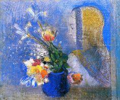 meditación, en colores pastel de Odilon Redon (1841-1916, France)